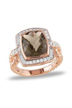 Two-Tone Smokey Quartz & Diamond Ring