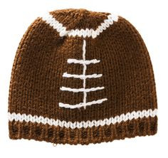 Brown Football Knit Hat For Ages 0-3 Months