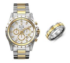 """""""Another cool men's watch/ring combination with yellow gold accents (Bulova Marine Star and Madani Best Watches For Men, Bulova, Men's Watches, Gold Accents, Michael Kors Watch, Jewellery, Cool Stuff, Stars, Yellow"""