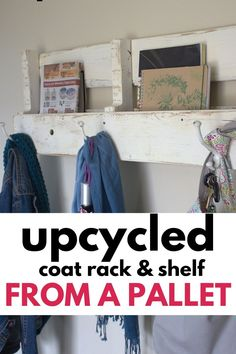 Reclaimed wood and pallet wood projects are so popular. Make this easy and simple pallet coat rack in under an hour with minimal skills. Pallet Coat Racks, Coat Rack Shelf, Before And After Diy, Upcycled Home Decor, Sliding Door Hardware, Old Pallets, Cottage Chic, Furniture Makeover, Make Your Own