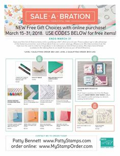Stampin' UP! Sale-a-Bration (SAB) free gift choices - NEW! March 15-31, 2018. Shop online with Patty Bennett at www.MyStampOrder.com