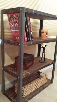 Industrial wood/steel shelf with steel by TheWoodGarageLLC on Etsy