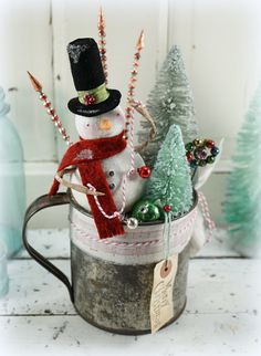 Snowman // Christmas Decor // Ornament // Vintage Style Christmas //Primitive Tin Cup // Farmhouse Chistmas // Bottle Brush Tree //