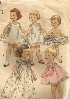 Vintage 50s Simplicity 1563 Child Nightgown, Baby Doll Pajamas, Petticoat, Slip and Ruffle Panties Sewing Pattern Size 1 Breast 20. Each garment in this dainty lingerie wardrobe is made from ONLY 1 MAJOR PATTERN PIECE. Neckline and sleeve edges of lace trimmed nightgown, view 1, shortie