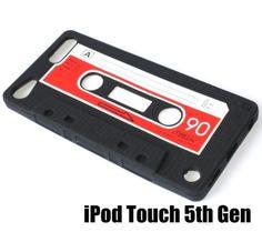 Para-Ipod-Touch-5th-Gen-De-Goma-Suave-Funda-De-Silicona-Piel-Rojo-Negro-Cinta-de-casete