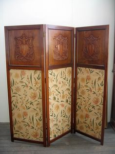 Shield carved blackwood, three fold screen with fabric panels - Screens - Furniture - Carter's Price Guide to Antiques and Collectables