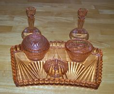 Vintage glass dresser set Art Deco pink collectible dresser jars candlesticks