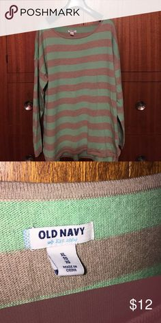 Lightweight spring sweater Mint green and khaki stripe--super soft cotton. Longer in length, hits below the hip. Old Navy Sweaters Crew & Scoop Necks