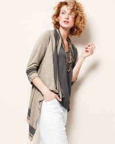 Sahara Draped Cardigan - like the stripe detailing and the easy style...