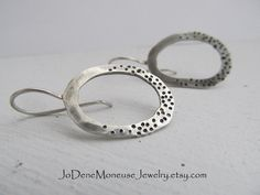 Dots and spots artisan earrings hand forged in sterling silver $32.00 by JoDeneMoneuseJewelry