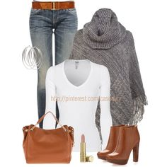 A fashion look from December 2012 featuring white v neck shirt, cable poncho and zipper fly jeans. Browse and shop related looks.