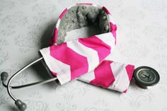 Padded Stethoscope Cover - Nurse, Doctor, Med Student,  Medical Assistant - Hot Pink Chevron with Gray Minky - MADE TO ORDER on Etsy, $15.00