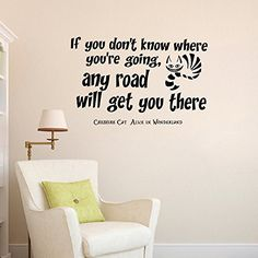 Wall Decals Vinyl Sticker If You Donu0027t Know Where You Are Going Cheshire  Cat Sayings Quote Alice In Wonderland Quotes Kitchen Nursery Baby Kids  Children ...