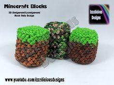 Rainbow Loom 3D Minecraft Block Charm Amigurumi/Loomigurumi Crochet Hook Only (Loomless/loom-less) - YouTube