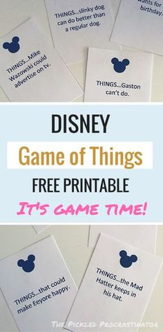 Disney Game of Things - The Pickled Procrastinator Free printable! Free printable Disney inspired Game of Things cards for your next family game night. Also makes a great Disney Cruise fish extender! Disney Cruise, Walt Disney, Disney Diy, Disney Crafts, Disney Dream, Disney Vacations, Disney Love, Disney Trips, Disney Magic