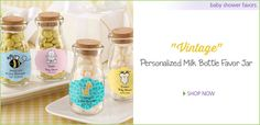 Vintage style milk bottle favor jars with personalized labels make precious baby shower favors!