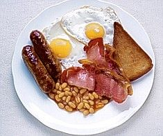 The Full English Breakfast. Serve with a good strong cuppa tea.