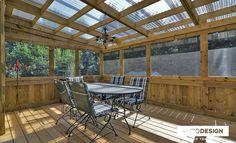Patio Design – Construction & Design of verandas, 3 seasons solarium - Marian's World Backyard Pavilion, Patio Gazebo, Deck With Pergola, Patio Roof, Screened In Porch Plans, Patio Plan, Screened Porch Designs, Carport Plans, Backyard Shade