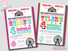 Fun & Games  Kids Carnival Birthday Party by inkberrycards on Etsy, $18.00