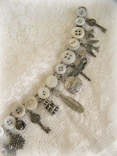 Handmade Button Charm Bracelet Vintage Buttons~  QueenBe
