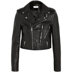 Saint Laurent Leather biker jacket ($4,495) ❤ liked on Polyvore featuring outerwear, jackets, coats & jackets, tops, coats, black, cropped leather jacket, biker jacket, moto jacket and black moto jacket