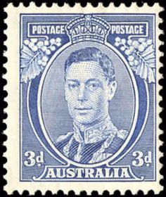 "Australia 1937 - Definitives - King George VI - Perforation x Die Ia. Right side ""T"" of ""POSTAGE"" tapered. C of A watermark. Australian Painting, Postage Stamp Collection, Australia Map, Barbie Accessories, Vintage Stamps, King George, Stamp Collecting, Art And Architecture, Vintage Images"