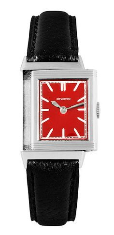A very rare, early Jeager LeCoultre Steel Reverso with red lacquered dial made in 1931.