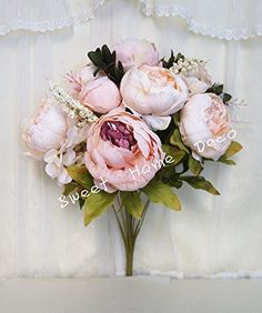 Sweet Home Deco 18'' Super Soft Blooming Peonies and Hydrangeas Silk Artificial Bouquet (13 Stems/6 Flower Heads) (Ivory/Light Pink) Sweet Home Deco http://www.amazon.com/dp/B00PSPM10Y/ref=cm_sw_r_pi_dp_SyFUub1KJBD4Y