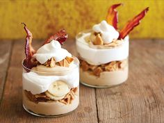 Elvis-Inspired Peanut Butter Brunch Parfait : Pay tribute to The King with a rocking dessert that pairs Elvis' favorite combination of peanut butter, banana and bacon with waffle cookies and whipped cream in parfait-form. Serve the individual treats in clear glasses so the layers are visible.