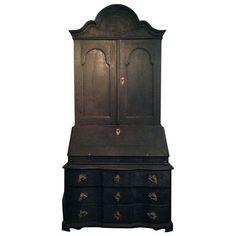 Black Painted Baroque Swedish Secretary | 1stdibs.com