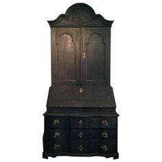 Black Painted Baroque Swedish Secretary | From a unique collection of antique and modern secretaires at https://www.1stdibs.com/furniture/storage-case-pieces/secretaires/
