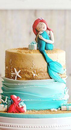Inspired Image of Little Mermaid Birthday Cakes Little Mermaid Birthday Cakes Ariels Gift Campbells Third Birthday Mermaid Party Birthday Little Mermaid Cakes, Mermaid Birthday Cakes, Cake Birthday, Birthday Cakes For Girls, Birthday Ideas, Sirenita Cake, Ariel Cake, Sea Cakes, Gateaux Cake