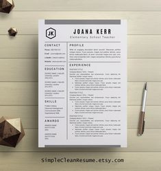 Modern Resume & Cover Letter Template --- Editable word format ...