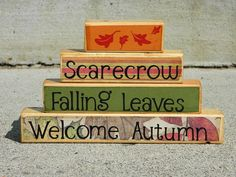 Fall/Autumn decor wooden stacker scarecrow falling leaves welcome autumn red green yellow brown wooden blocks with vinyl leaves Rustic