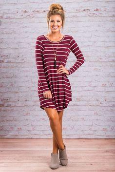 """Striped Long Sleeve Pocket Dress - Burgundy"""