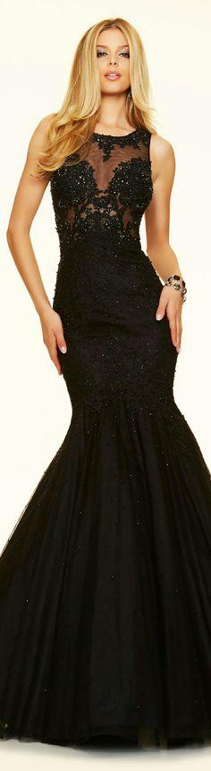 17d2280596dbc ❤MGNY for MORI LEE ▫ PAPARAZZI Black Beaded Bodice Mermaid-Style Funnel  Skirt Prom