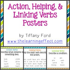 Action Linking and Helping Verbs Worksheets with Answers