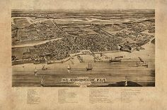 Bird/'s Eye View 1884 Key West Florida Vintage Style City Map 24x36
