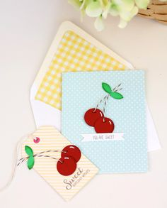 Cute homemade cherry cards and tags