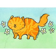 Original ACEO ATC Watercolor Little Tiger Kitty Cat with White Flowers | eBay