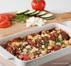Courgette/Tomaat/Feta ovenschotel