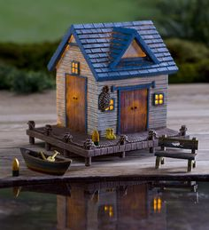 Miniature Fairy Garden Solar Lake House