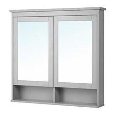 HEMNES Mirror cabinet with 2 doors, gray gray 40 Ikea Hemnes Mirror, Ikea Mirror, Bathroom Mirror Lights, Bathroom Mirror Cabinet, Mirror Cabinets, Mirror With Lights, Bathroom Shelves, Bathroom Cabinets, Cabinet Doors