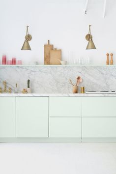 Mint + marble kitche