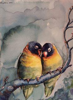 Parrots by *Kirinoru, Ecoline watercolors, Koh-I-Noor acrylics, watercolor pencils http://kirinoru.deviantart.com/art/Parrots-369879378