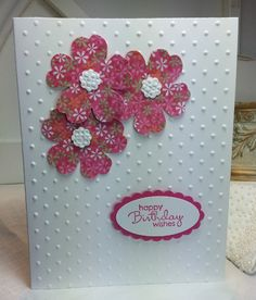 Birthday Card using Stampin' Up! Pansy Punch                                                                                                                                                                                 More