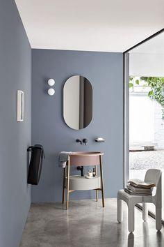 Small Bathroom Furniture: vanity, storage, rack - Decoration and Furniture Ideas Small Bathroom Furniture, Bathroom Mirror Design, Bathroom Interior Design, Modern Bathroom, Bathroom Mirrors, Furniture Vanity, Mirror Vanity, Oval Mirror, Rustic Furniture