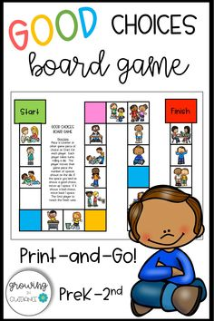 This is a ready to print and go board game for your K, 1st, and 2nd grade students to reinforce good choices. This no-prep game works great in both small groups and the classroom setting. Click to get this now! Elementary School Counselor, Elementary Teaching, School Counseling, Elementary Schools, Counseling Activities, Classroom Activities, Learning Activities, Teaching Ideas, Classroom Hacks