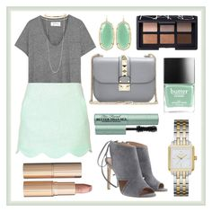 """""""Mint and Gray"""" by e-m-i-l-y-71 ❤ liked on Polyvore featuring The Great, Topshop, Kendra Scott, BOSS Hugo Boss, Valentino, NARS Cosmetics, Too Faced Cosmetics, Butter London, Kate Spade and STELLA McCARTNEY"""