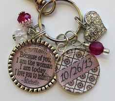 Mother of BRIDE gift, Mom because of you I am the woman I am today love you to infinity Personalized pendant Mother of groom grandma nana